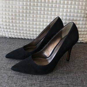 Ann Taylor Loft Black Shoes Suede Heels Size 9